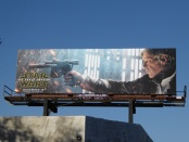 A billboard featuring Harrison Ford